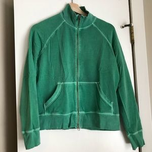 Gap Sunwashed Zip-Up, Kelly Green Size L
